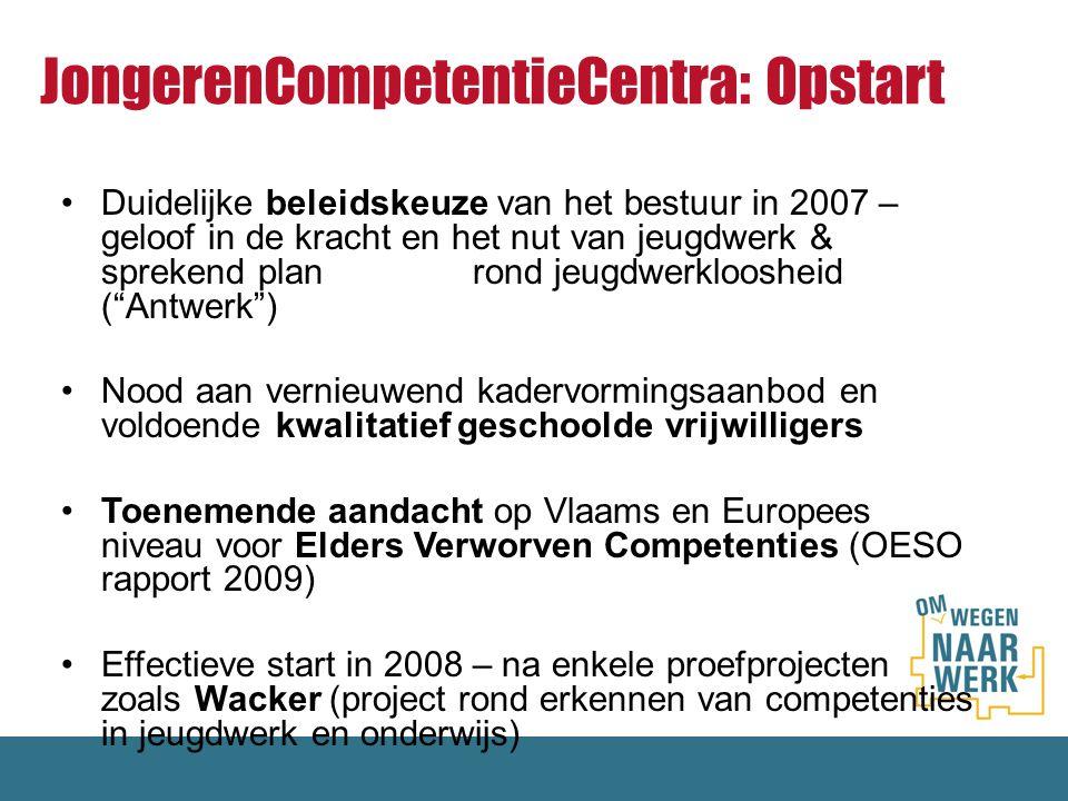 JongerenCompetentieCentra: Opstart Duidelijke beleidskeuze van het bestuur in 2007 – geloof in de kracht en het nut van jeugdwerk & sprekend plan rond