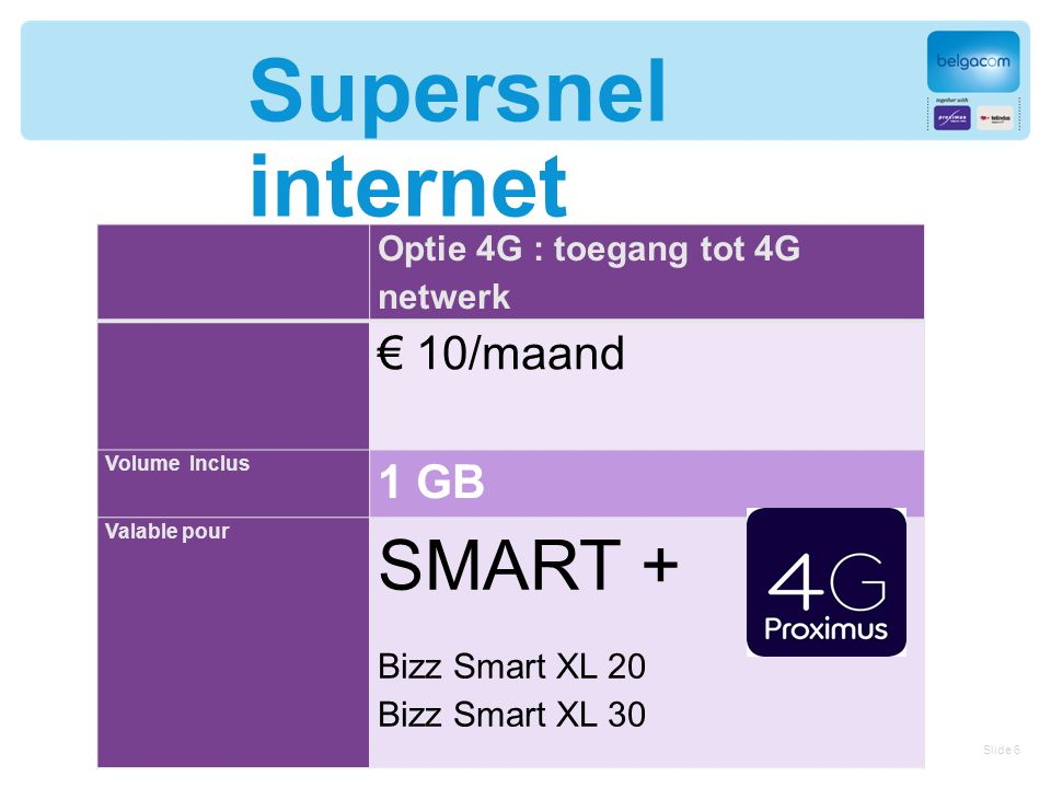 Supersnel internet Optie 4G : toegang tot 4G netwerk € 10/maand Volume Inclus 1 GB Valable pour SMART + Bizz Smart XL 20 Bizz Smart XL 30 Slide 6