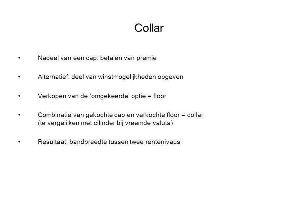 Collar Nadeel van een cap: betalen van premie Alternatief: deel van winstmogelijkheden opgeven Verkopen van de 'omgekeerde' optie = floor Combinatie v