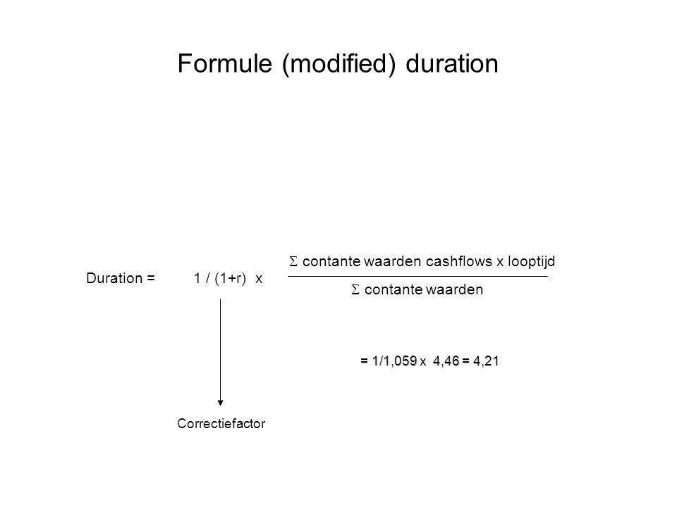 Formule (modified) duration Duration =  contante waarden cashflows x looptijd  contante waarden 1 / (1+r) x Correctiefactor = 1/1,059 x 4,46 = 4,21