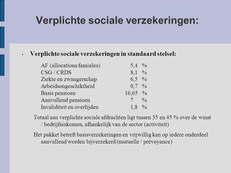 Verplichte sociale verzekeringen:  Verplichte sociale verzekeringen in standaard stelsel: AF (allocations famiales)5,4 % CSG / CRDS8,1 % Ziekte en zwangerschap6,5 % Arbeidsongeschiktheid0,7 % Basis pensioen 16,65 % Aanvullend pensioen7 % Invaliditeit en overlijden1,8 % Totaal aan verplichte sociale afdrachten ligt tussen 35 en 45 % over de winst / bedrijfsinkomen, afhankelijk van de sector (activiteit) Het pakket betreft basisverzekeringen en vrijwillig kan op iedere onderdeel aanvullend worden bijverzekerd (mutuelle / prévoyance)