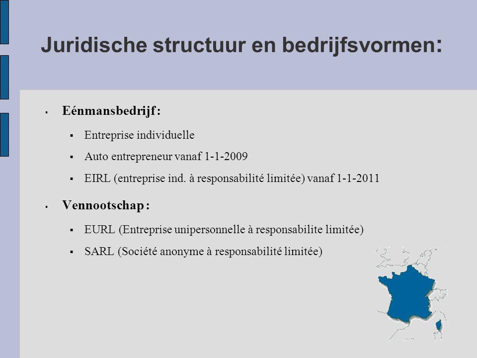 Juridische structuur en bedrijfsvormen :  Eénmansbedrijf :  Entreprise individuelle  Auto entrepreneur vanaf 1-1-2009  EIRL (entreprise ind.