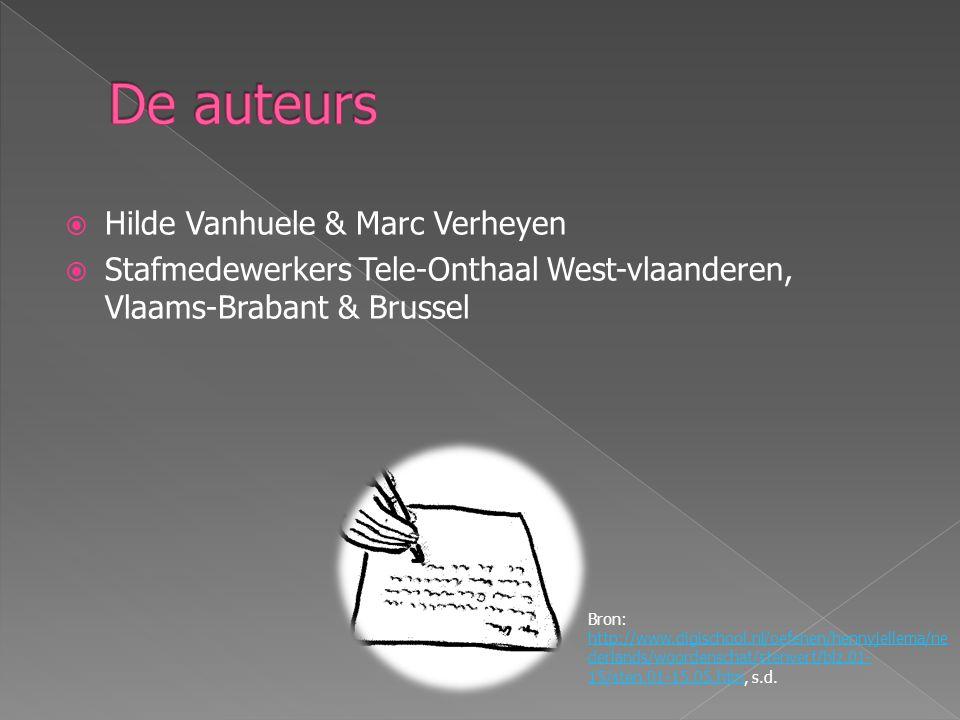  Hilde Vanhuele & Marc Verheyen  Stafmedewerkers Tele-Onthaal West-vlaanderen, Vlaams-Brabant & Brussel Bron: http://www.digischool.nl/oefenen/hennyjellema/ne derlands/woordenschat/stenvert/blz.01- 15/sten.01-15.05.htm, s.d.