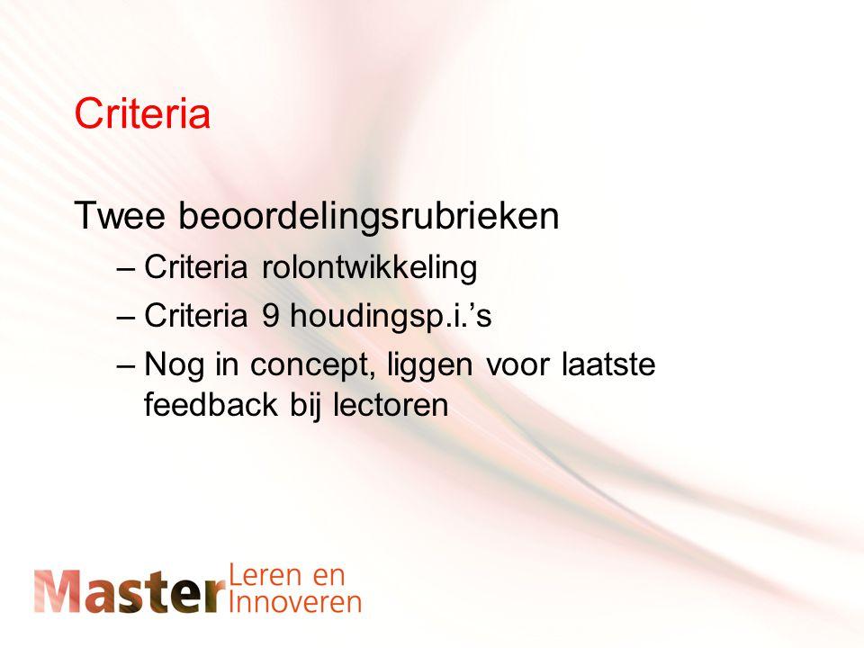 Criteria Twee beoordelingsrubrieken –Criteria rolontwikkeling –Criteria 9 houdingsp.i.'s –Nog in concept, liggen voor laatste feedback bij lectoren