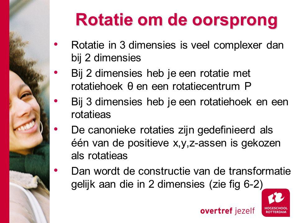 Rotatie om de oorsprong Rotatie in 3 dimensies is veel complexer dan bij 2 dimensies Bij 2 dimensies heb je een rotatie met rotatiehoek θ en een rotat