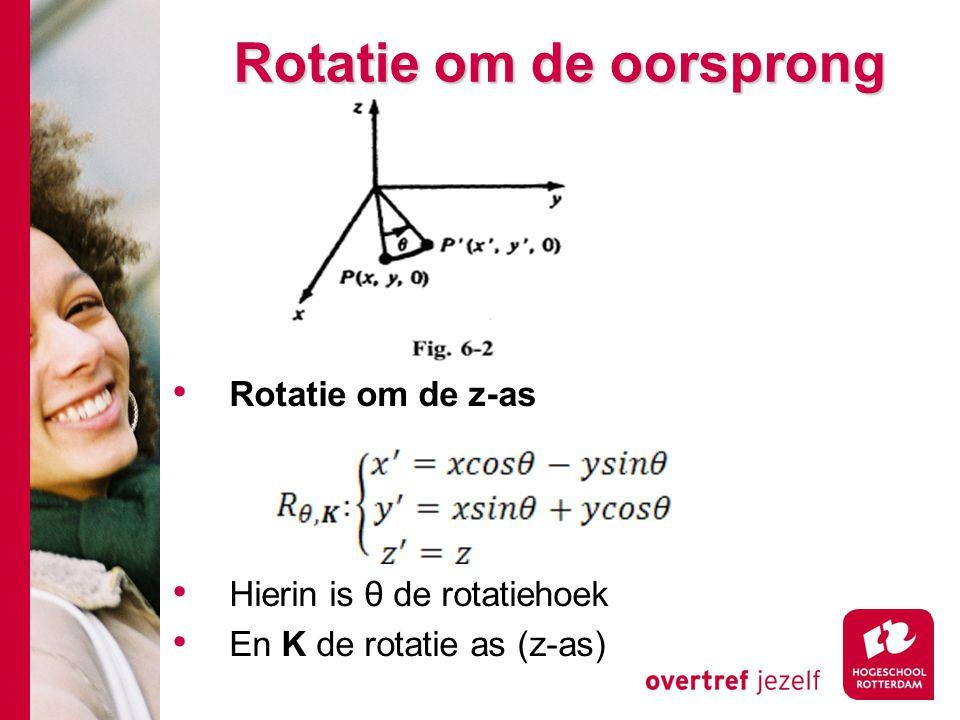 Rotatie om de oorsprong Rotatie om de z-as Hierin is θ de rotatiehoek En K de rotatie as (z-as)