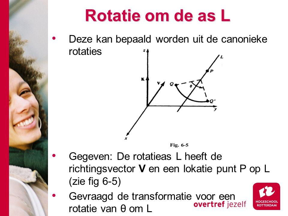 Rotatie om de as L Deze kan bepaald worden uit de canonieke rotaties Gegeven: De rotatieas L heeft de richtingsvector V en een lokatie punt P op L (zi
