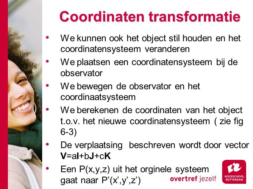 Coordinaten transformatie We kunnen ook het object stil houden en het coordinatensysteem veranderen We plaatsen een coordinatensysteem bij de observat