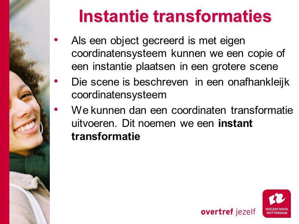 Instantie transformaties Als een object gecreerd is met eigen coordinatensysteem kunnen we een copie of een instantie plaatsen in een grotere scene Di