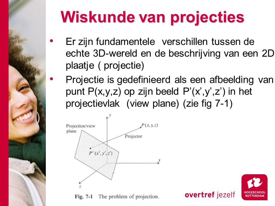 Wiskunde van projecties Wiskunde van projecties Er zijn fundamentele verschillen tussen de echte 3D-wereld en de beschrijving van een 2D plaatje ( pro