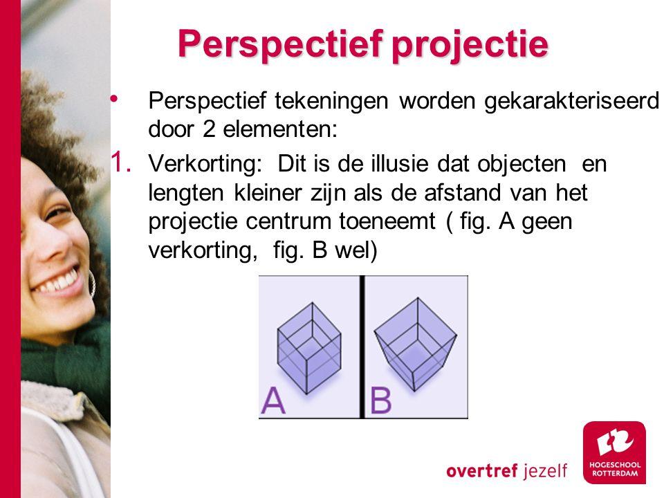 Perspectief tekeningen worden gekarakteriseerd door 2 elementen: 1. Verkorting: Dit is de illusie dat objecten en lengten kleiner zijn als de afstand
