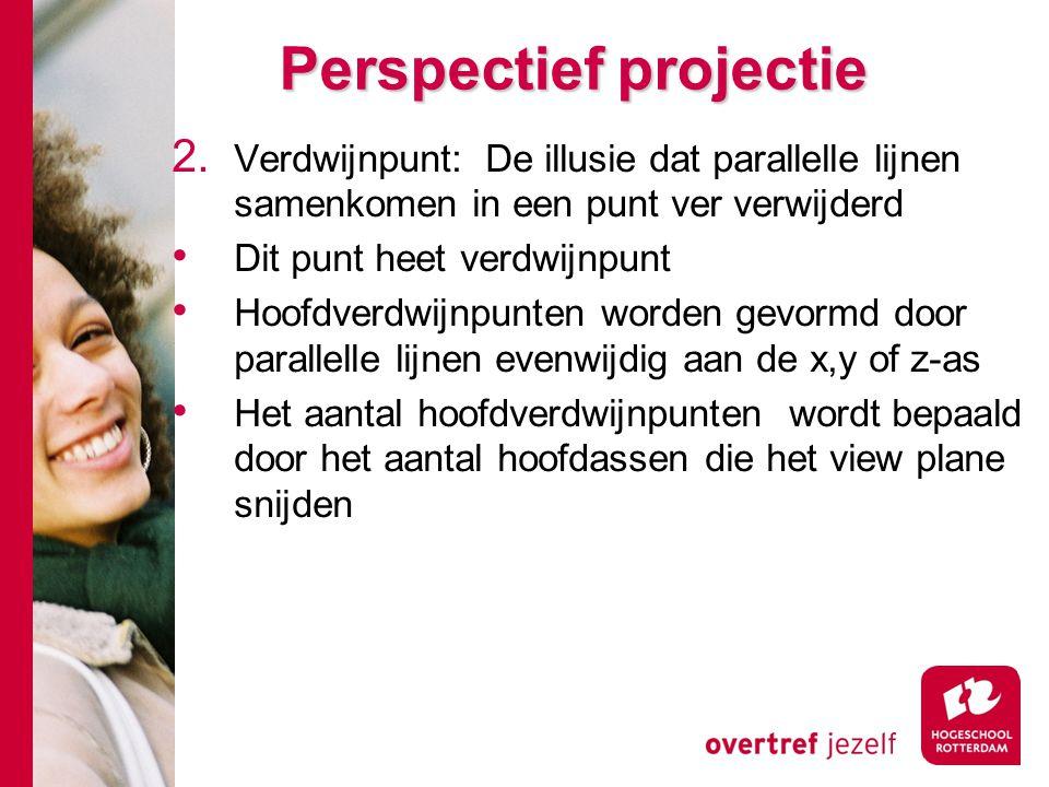 Perspectief projectie 2. Verdwijnpunt: De illusie dat parallelle lijnen samenkomen in een punt ver verwijderd Dit punt heet verdwijnpunt Hoofdverdwijn