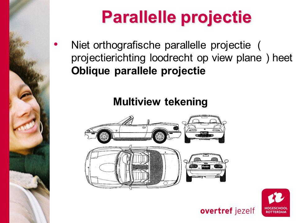 Parallelle projectie Niet orthografische parallelle projectie ( projectierichting loodrecht op view plane ) heet Oblique parallele projectie Multiview