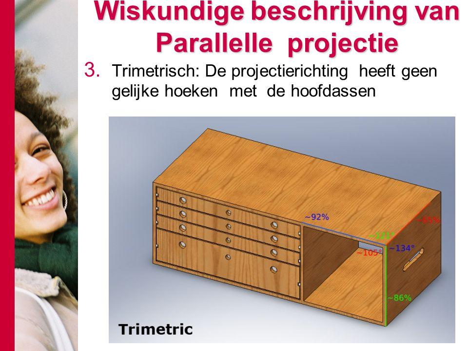 3. Trimetrisch: De projectierichting heeft geen gelijke hoeken met de hoofdassen