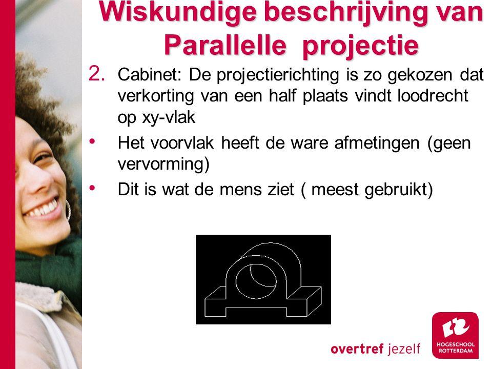 Wiskundige beschrijving van Parallelle projectie 2. Cabinet: De projectierichting is zo gekozen dat verkorting van een half plaats vindt loodrecht op