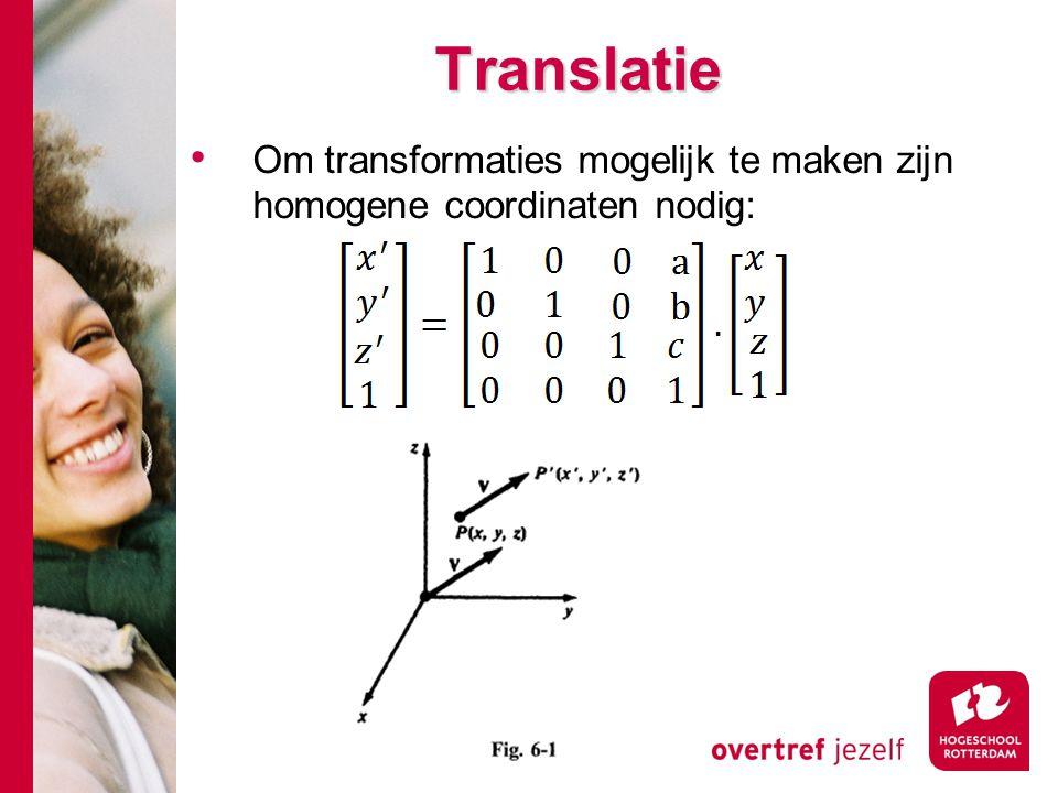 Instantie transformaties Als een object gecreerd is met eigen coordinatensysteem kunnen we een copie of een instantie plaatsen in een grotere scene Die scene is beschreven in een onafhankleijk coordinatensysteem We kunnen dan een coordinaten transformatie uitvoeren.