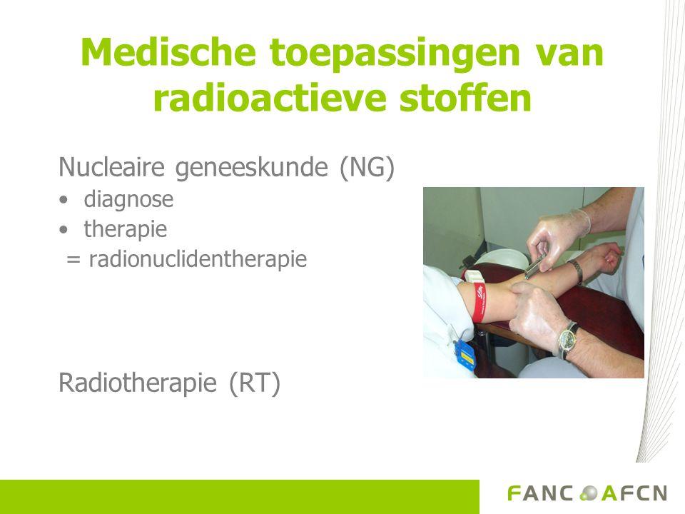 Medische toepassingen van radioactieve stoffen Nucleaire geneeskunde (NG) diagnose therapie = radionuclidentherapie Radiotherapie (RT)