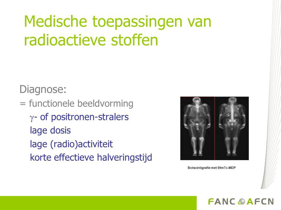 Diagnose: = functionele beeldvorming  - of positronen-stralers lage dosis lage (radio)activiteit korte effectieve halveringstijd Botscintigrafie met
