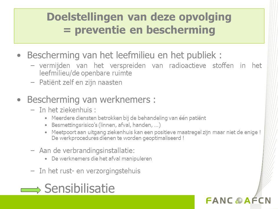 Doelstellingen van deze opvolging = preventie en bescherming Bescherming van het leefmilieu en het publiek : –vermijden van het verspreiden van radioa