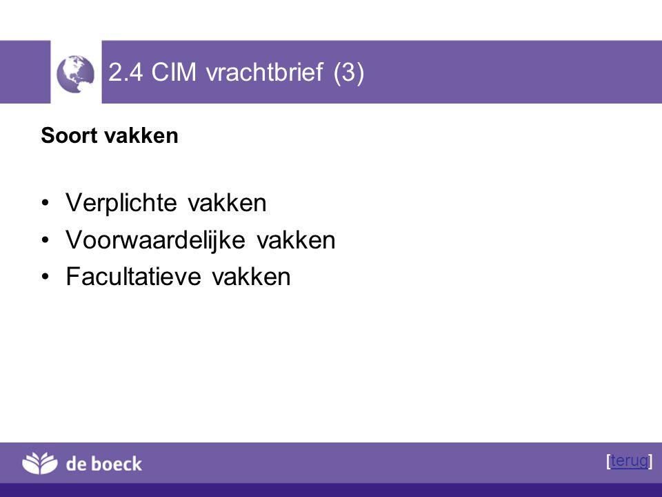 2.4 CIM vrachtbrief (3) Soort vakken Verplichte vakken Voorwaardelijke vakken Facultatieve vakken [terug]terug