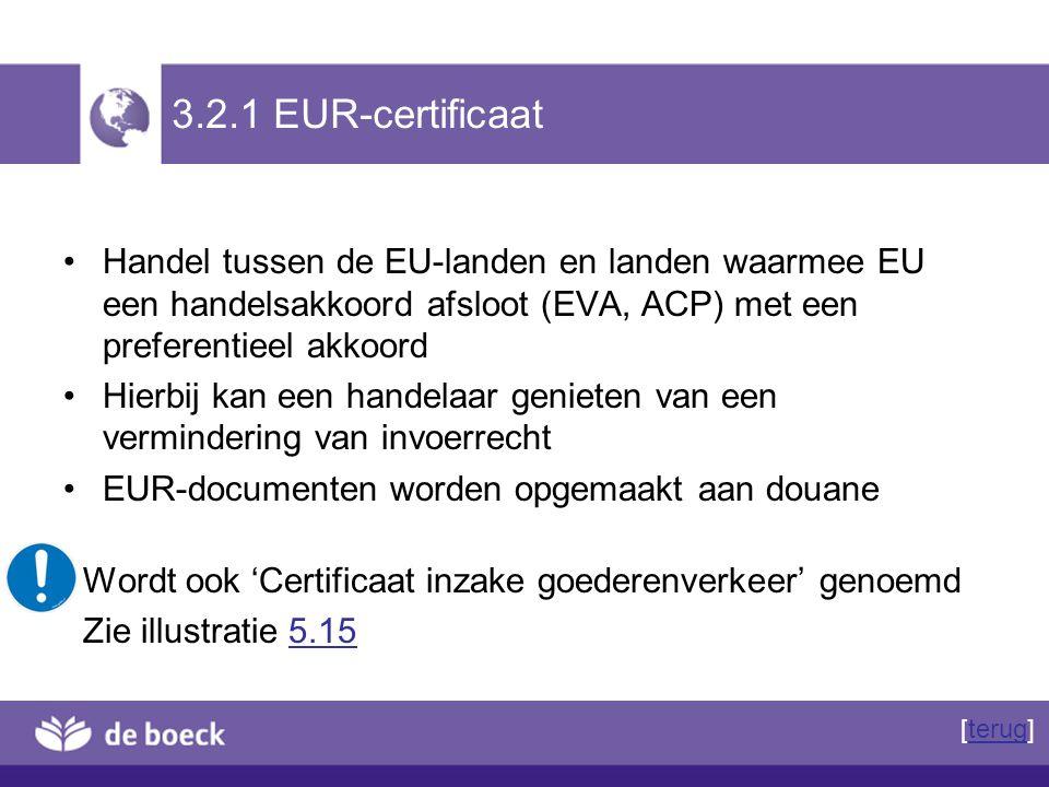 3.2.1 EUR-certificaat Handel tussen de EU-landen en landen waarmee EU een handelsakkoord afsloot (EVA, ACP) met een preferentieel akkoord Hierbij kan