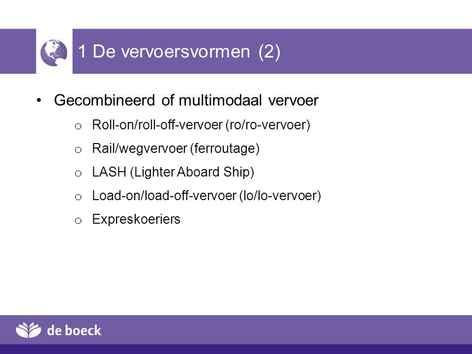 1 De vervoersvormen (3) Containers en eenheidsladingen in het vervoer o Containers o Eigenaarscode o ISO-code (soorten ISO-containers: zie Illustratie 5.2) o TEU = Twenty Feet Equivalent Unit o Standaard ISO-containers o Andere eenheidsladingen Pijpleiding
