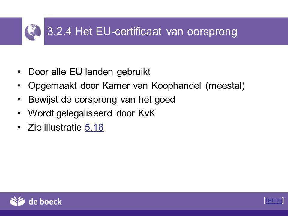 3.2.4 Het EU-certificaat van oorsprong Door alle EU landen gebruikt Opgemaakt door Kamer van Koophandel (meestal) Bewijst de oorsprong van het goed Wo