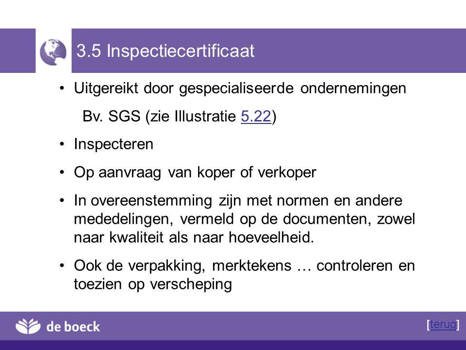 3.5 Inspectiecertificaat Uitgereikt door gespecialiseerde ondernemingen Bv. SGS (zie Illustratie 5.22)5.22 Inspecteren Op aanvraag van koper of verkop