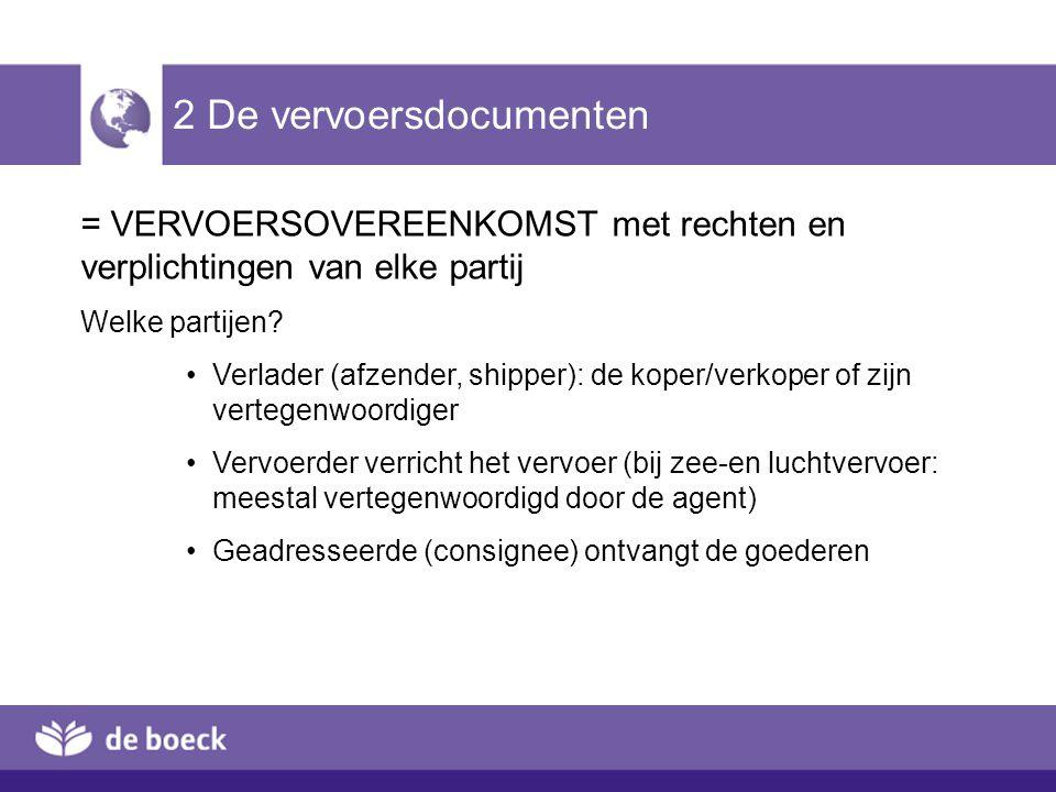 2 De vervoersdocumenten (2) -Internationale overeenkomsten: internationaal uniforme vervoersvoorwaarden en documenten gebruiken -Juistheid, volledigheid, leesbaarheid van de gegevens -Belangrijke rol bij de betaling (documentair krediet)