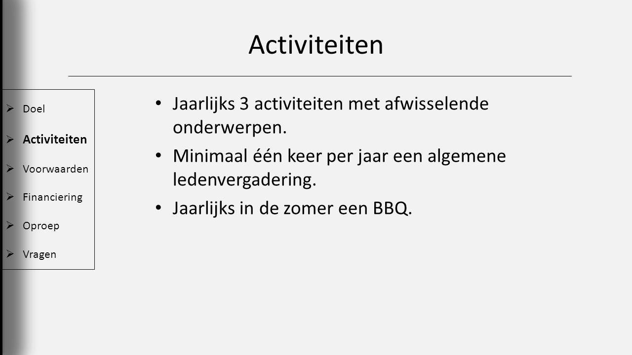 Activiteiten  Doel  Activiteiten  Voorwaarden  Financiering  Oproep  Vragen Jaarlijks 3 activiteiten met afwisselende onderwerpen.