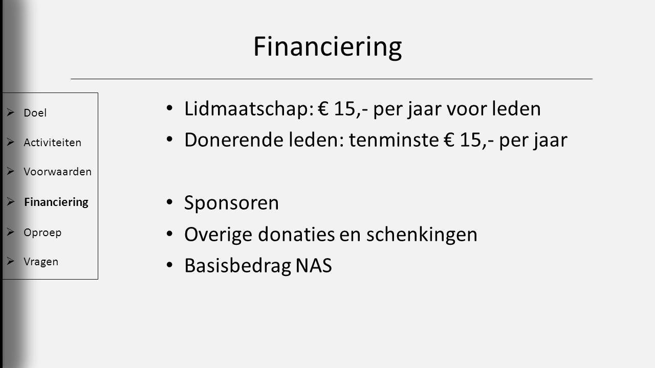Financiering Lidmaatschap: € 15,- per jaar voor leden Donerende leden: tenminste € 15,- per jaar Sponsoren Overige donaties en schenkingen Basisbedrag NAS  Doel  Activiteiten  Voorwaarden  Financiering  Oproep  Vragen