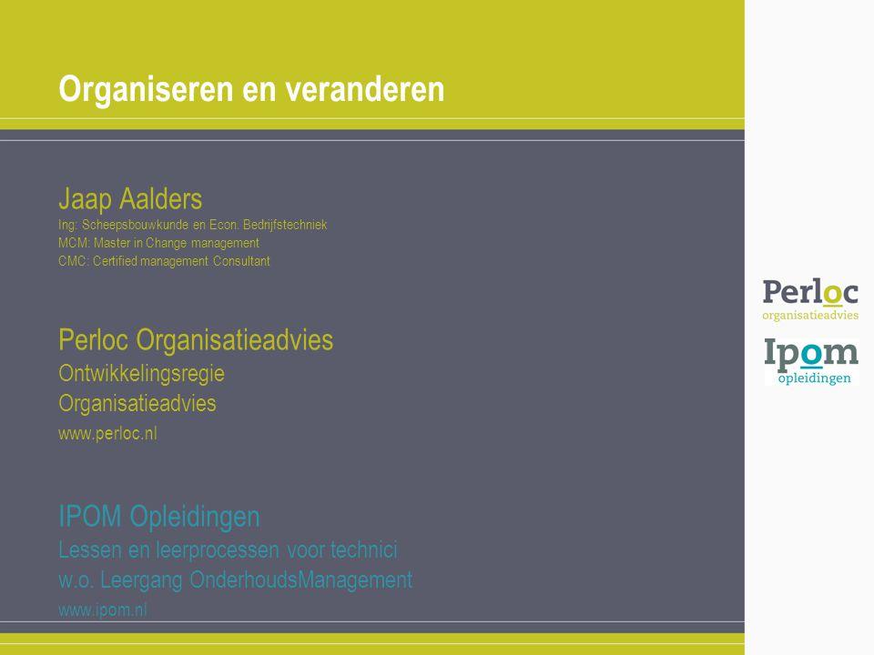 Organiseren en veranderen Jaap Aalders Ing: Scheepsbouwkunde en Econ. Bedrijfstechniek MCM: Master in Change management CMC: Certified management Cons