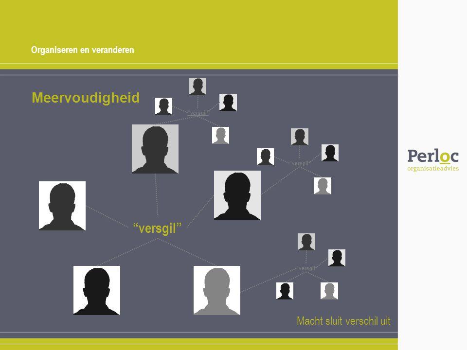 """Organiseren en veranderen Meervoudigheid """"versgil"""" Macht sluit verschil uit """"versgil"""""""