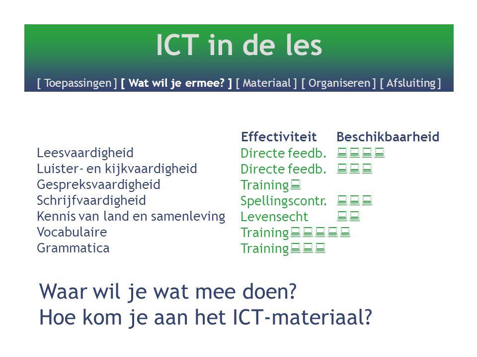 ICT in de les [ Toepassingen ] [ Wat wil je ermee? ] [ Materiaal ] [ Organiseren ] [ Afsluiting ] Leesvaardigheid Luister- en kijkvaardigheid Gespreks