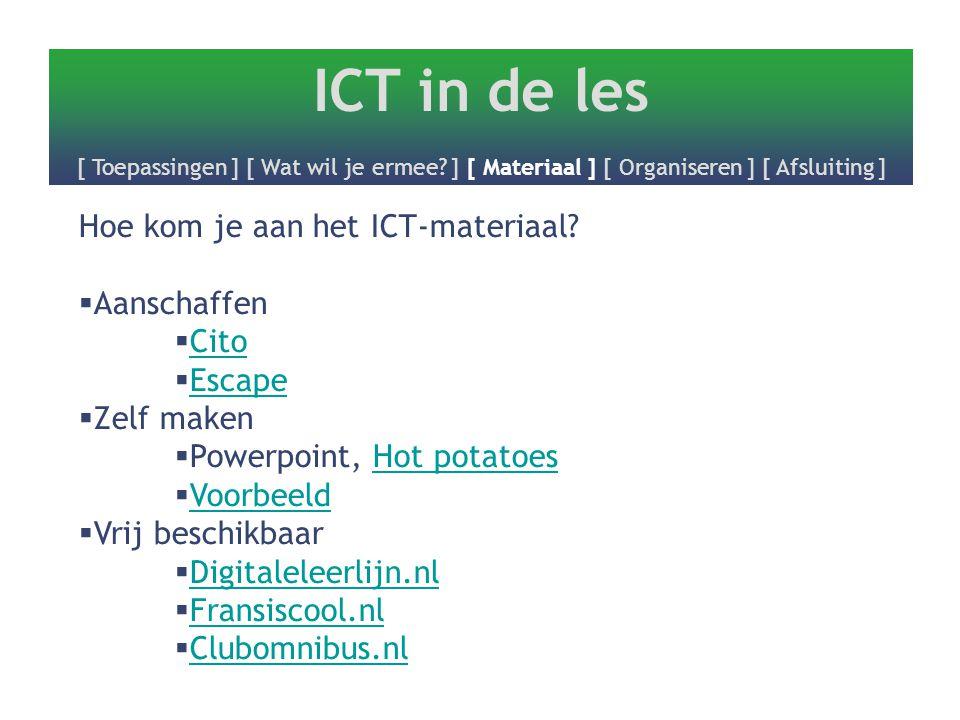 ICT in de les [ Toepassingen ] [ Wat wil je ermee? ] [ Materiaal ] [ Organiseren ] [ Afsluiting ] Hoe kom je aan het ICT-materiaal?  Aanschaffen  Ci