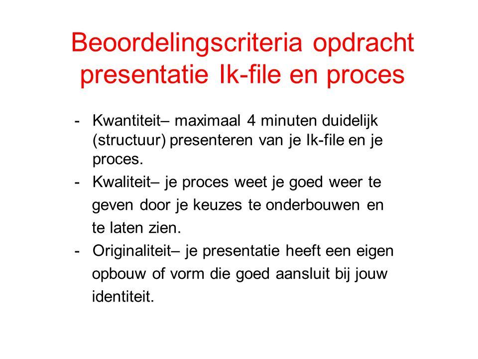 Beoordelingscriteria opdracht presentatie Ik-file en proces -Kwantiteit– maximaal 4 minuten duidelijk (structuur) presenteren van je Ik-file en je pro