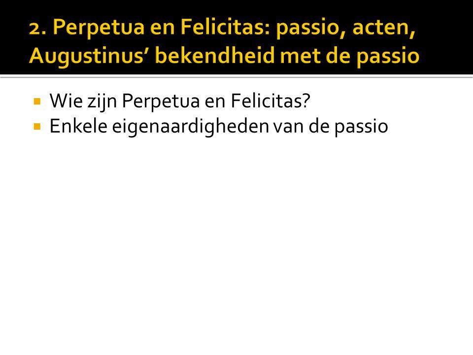  Wie zijn Perpetua en Felicitas?  Enkele eigenaardigheden van de passio