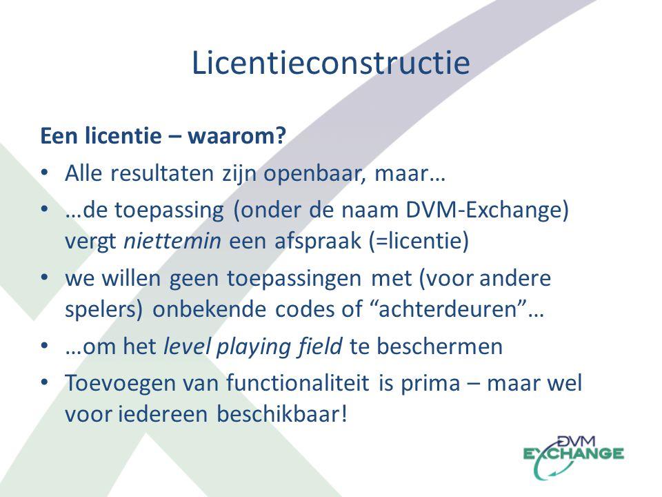 Licentieconstructie Een licentie – waarom? Alle resultaten zijn openbaar, maar… …de toepassing (onder de naam DVM-Exchange) vergt niettemin een afspra