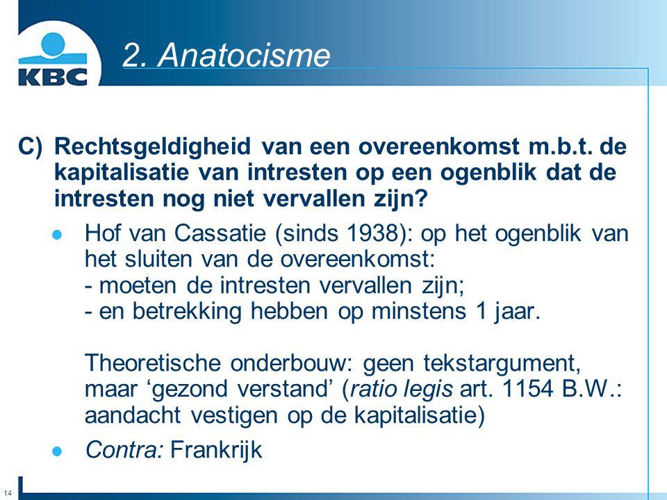14 2. Anatocisme C)Rechtsgeldigheid van een overeenkomst m.b.t. de kapitalisatie van intresten op een ogenblik dat de intresten nog niet vervallen zij
