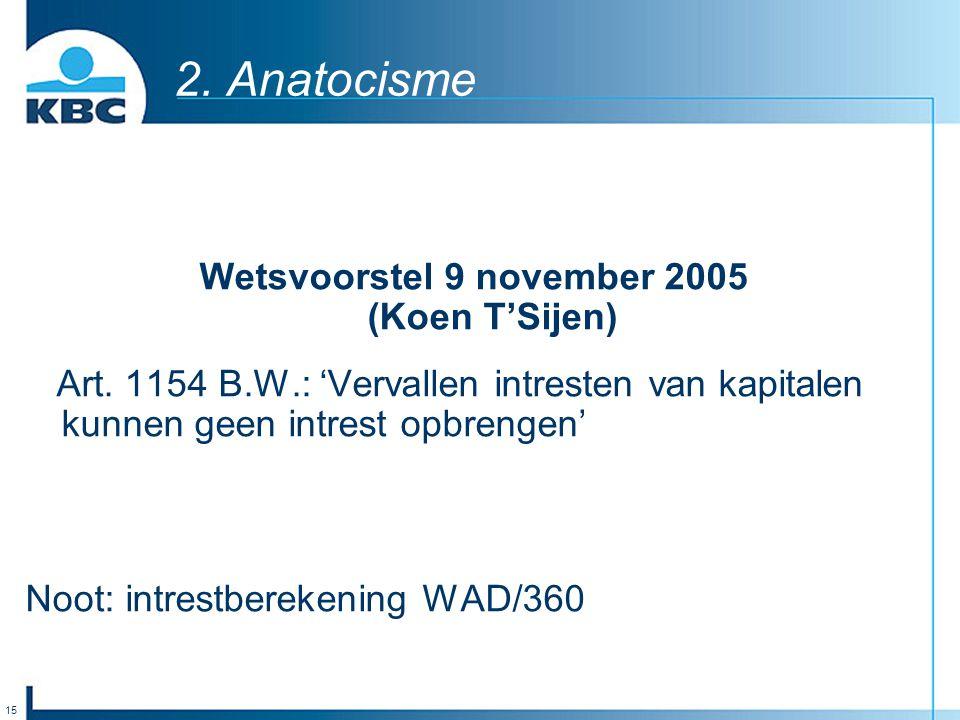 15 2. Anatocisme Wetsvoorstel 9 november 2005 (Koen T'Sijen) Art. 1154 B.W.: 'Vervallen intresten van kapitalen kunnen geen intrest opbrengen' Noot: i