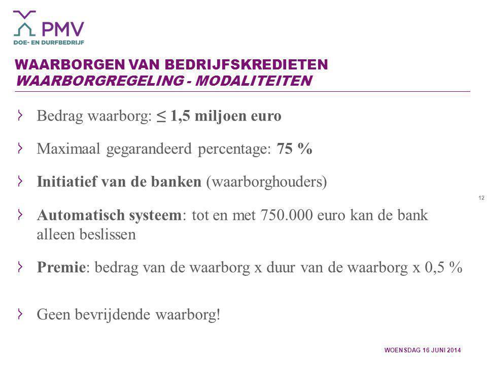 12 WAARBORGEN VAN BEDRIJFSKREDIETEN WAARBORGREGELING - MODALITEITEN WOENSDAG 16 JUNI 2014 Bedrag waarborg: ≤ 1,5 miljoen euro Maximaal gegarandeerd pe