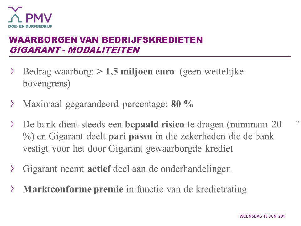 17 WAARBORGEN VAN BEDRIJFSKREDIETEN GIGARANT - MODALITEITEN WOENSDAG 16 JUNI 204 Bedrag waarborg: > 1,5 miljoen euro (geen wettelijke bovengrens) Maxi