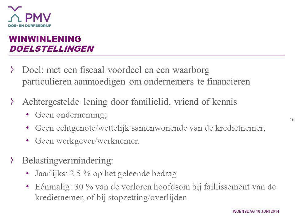 19 WINWINLENING DOELSTELLINGEN WOENSDAG 16 JUNI 2014 Doel: met een fiscaal voordeel en een waarborg particulieren aanmoedigen om ondernemers te financ