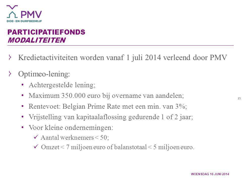 23 PARTICIPATIEFONDS MODALITEITEN WOENSDAG 16 JUNI 2014 Kredietactiviteiten worden vanaf 1 juli 2014 verleend door PMV Optimeo-lening: Achtergestelde
