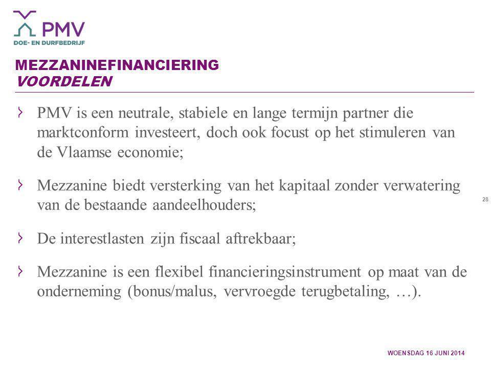 28 MEZZANINEFINANCIERING VOORDELEN PMV is een neutrale, stabiele en lange termijn partner die marktconform investeert, doch ook focust op het stimuler