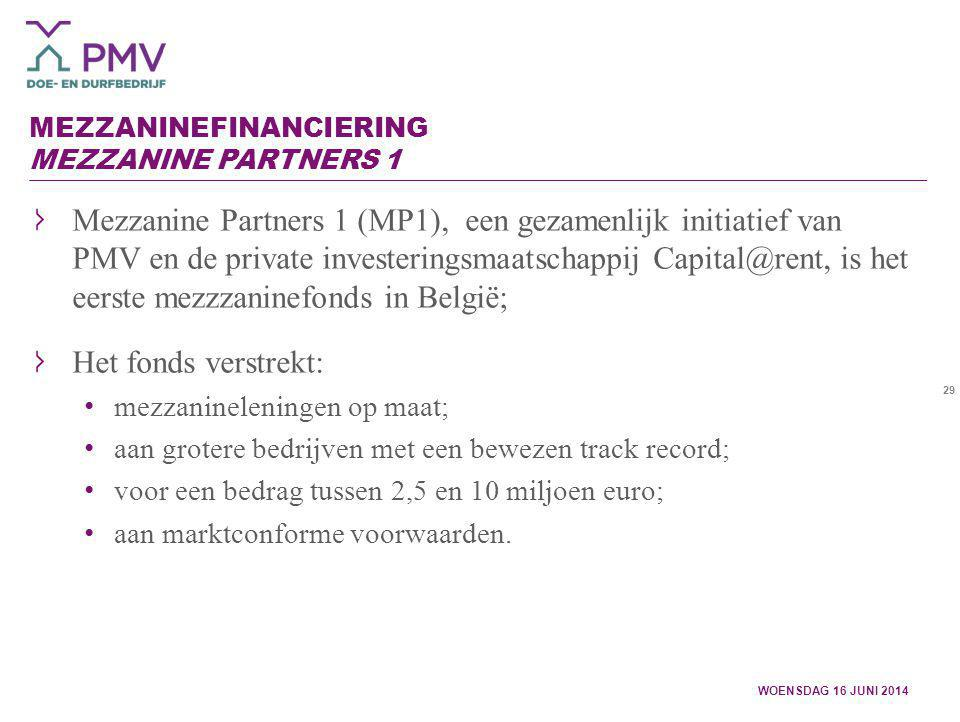 29 MEZZANINEFINANCIERING MEZZANINE PARTNERS 1 Mezzanine Partners 1 (MP1), een gezamenlijk initiatief van PMV en de private investeringsmaatschappij Ca