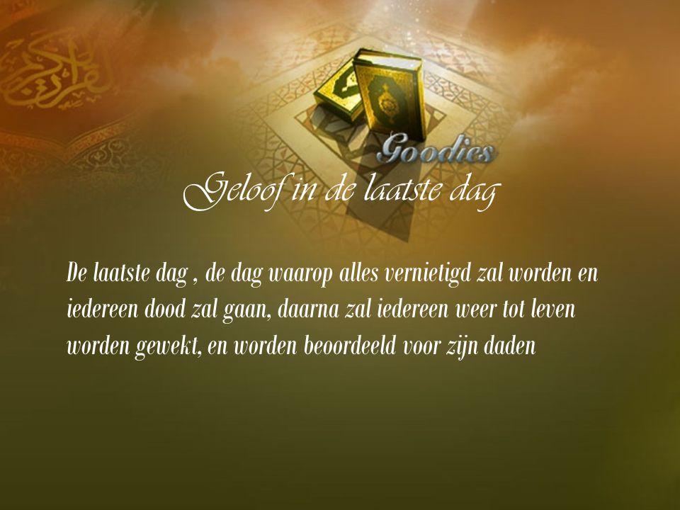 Geloof in de laatste dag De laatste dag, de dag waarop alles vernietigd zal worden en iedereen dood zal gaan, daarna zal iedereen weer tot leven worden gewekt, en worden beoordeeld voor zijn daden