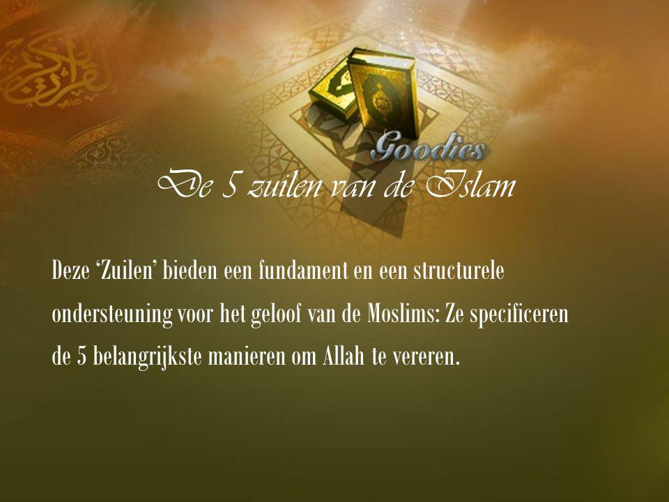 De 5 zuilen van de Islam Deze 'Zuilen' bieden een fundament en een structurele ondersteuning voor het geloof van de Moslims: Ze specificeren de 5 belangrijkste manieren om Allah te vereren.