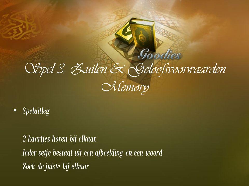 Spel 3: Zuilen & Geloofsvoorwaarden Memory Speluitleg 2 kaartjes horen bij elkaar. Ieder setje bestaat uit een afbeelding en een woord Zoek de juiste