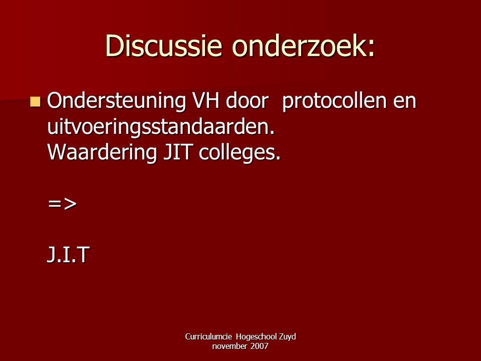 Curriculumcie Hogeschool Zuyd november 2007 Discussie onderzoek: Ondersteuning VH door protocollen en uitvoeringsstandaarden. Waardering JIT colleges.